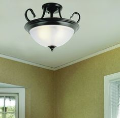Patriot Lighting® Arabella Semi-Flush Ceiling Light with Oil-Rubbed Bronze Finish and White Frosted Glass