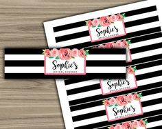 Personalized - Water Bottle Labels - PRINTABLE - DIY - Custom - Bridal Shower - Labels - Black and White - Floral - Pink - L25