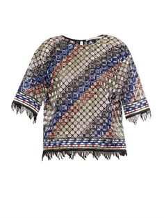 Fringed broderie-anglaise top | Marco De Vincenzo | MATCHESFAS...