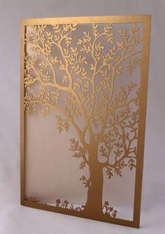 Corte a laser em papel para convites de casamento, formatura, aniversário e batizados