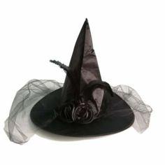 Mujer Espantapájaros Sombrero Bruja con Velo Disfraz de