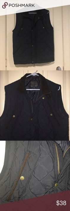 Mens navy quilted vest with corduroy collar Mens size medium blue quilted vest with brown corduroy collar. Has regular pockets and higher pockets with snap closure. Jackets & Coats Vests
