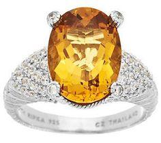 Judith Ripka Sterling Oval 4.00cttw Golden Beryl & Diamonique Ring