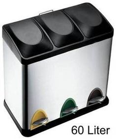 60-Litre-Compartment-Recycling-Recycle-Step-Pedal-Bin