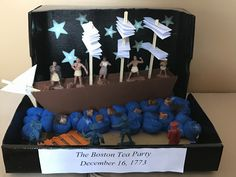 Boston Tea Party Diorama History Projects, Class Projects, School Projects, Shoe Box Diorama, Lego Wall E, Boston Tea Parties, School Parties, American Revolution, Special Day