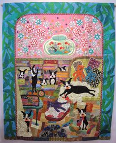 """Orusuban"" (""Home Alone"") by Toshiko Maeda shows what this quilter's dogs get into. 2015 Tokyo Quilt show.  Photo by Julie Fukuda 