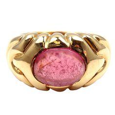 Bulgari Pink Tourmaline Yellow Gold Ring   1stdibs.com