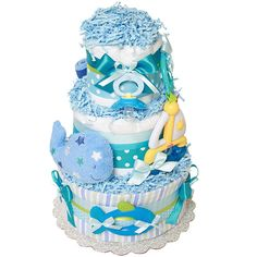 Sailboat and Whale Diaper Cake - $0.00 : Diaper Cakes Mall, Unique Baby shower diaper cake