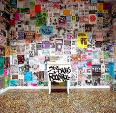 The Urban Decay Cosmetics headquarters bathroom walls are plastered with old school punk rock band flyers: Black Flag, X-Ray Spex, GBH, Siouxsie, X, Crass, Misfits, Vandals, Germs, tons of amazing posters!