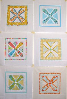 4x5 Modern Quilt Bee blocks Q3 2011 by Annamal Quilts, via Flickr.  Includes link to pattern