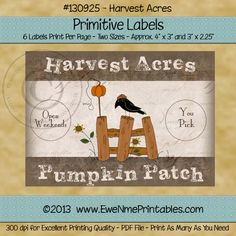 """Printable Label Sheet - Harvest Acres Pumpkin Patch, Six printable labels are included on this 8.5""""x11"""" printable page. Labels are in two sizes approx. 4 in. x 3 in. and 3 in. x 2.25 in. PDF file... $2.50"""