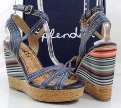406fdec000bf Women s Shoes Splendid KAYLA Strappy Wedge Sandals heels Denim Size 8.5   Splendid  Strappy