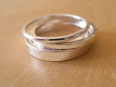Silver Ring Hammered Square Band Stacking Ring by tinysilver