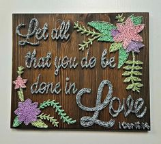 Custom Quote constructed out of nails and thread. The size of this listing is 30 cm x 25 cm x 1.8 cm, and is ready to hang. You can customize the following (just mention what you want in the notes when checking out): 1- Quote 2- Design 3- Color of thread (Multiple colors can be used) For