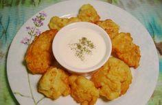 1 head cauliflower, separated into florets 1 cup frying oil 8 tbsp flour 1 cup milk ½ tsp salt ½ tsp baking soda 2 eggs  Boil cauliflower fl...