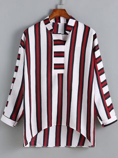 Blusa cuello mao rayas verticales -rojo blanco 17.65