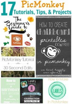 I love PicMonkey, but I didn't know I could do all this with it!! Edit photos, make cards, make blog images, create invitations and more! 17 PicMonkey Tutorials, Tips, and Projects
