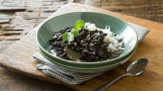 Feijao (Brazillian Black Beans.  Serve with Rice.  Tried this last night and it was A-mazing!  The cilantro in the recipe was a nice touch for flavor for sure!  I didn't have fresh garlic and used just garlic powder but still came out pretty good to me anyway.