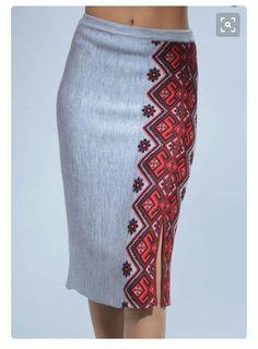 Pencil skirt with Ukrainian motif