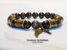 Bracelet homme passants bronze aile et croix bronze pierres bronzite : Bijoux pour hommes par shamballa-s-cargredam1