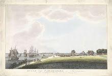 Gezicht op uitgebrande huizen in Paramaribo, 1821, Willem Hendrik Hoogkamer, 1821 - 1823 ets en aquatint, met de hand gekleurd, - Rijksstudio - Rijksmuseum