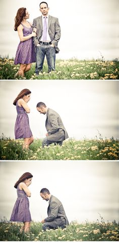 "I am in LOVE with this!!   During a ""photoshoot date"" - he dropped down on one knee!! A sure way to ensure that you will always have that special moment captured forever :) and also you'll look picture perfect for the moment"