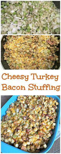 cheesy turkey bacon stuffing