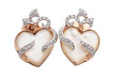 """Lovely 0.57 Carat White Diamond """"Heart Shape"""" Earrings, 925 Sterling Silver #FacetsJewels #HeartShapeStoneEarrings"""