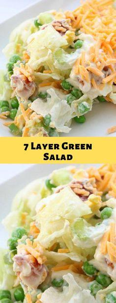 7 Layer Green Salad 7 layer of green salad Green Salad Recipes, Lunch Recipes, Dinner Recipes, Cooking Recipes, Healthy Salads, Healthy Eating, Healthy Recipes, Paleo Food, Meat Recipes