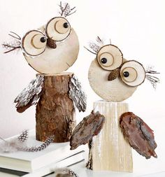 Wooden owls :-) Gloucestershire Resource C. - Fall Crafts For Kids Wooden Projects, Wooden Crafts, Craft Projects, Crafts To Make, Crafts For Kids, Arts And Crafts, Owl Crafts, Decor Crafts, Diy Decoration
