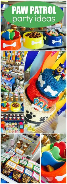 Love this fun and colorful Paw patrol birthday party with gorgeous Paw Patrol cake, party decorations, and Paw Patrol party favors! See more party ideas at CatchMyParty.com!