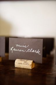 Wine cork name card-Want to do something similar to this