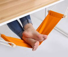 Take my money now! Kick back on casual Fridays while you toil away at endless TPS reports with the foot rest hammock at your desk. This small hammock attaches to each end of the desk and is completely adjustable to fully suit your lounging needs. Take My Money, Cool Inventions, Foot Rest, Office Decor, Desk Office, Work Desk Decor, Office Desk Gifts, Ikea Office, Bedroom Office