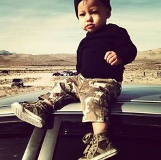 Camo swag baby..... he has an earring!