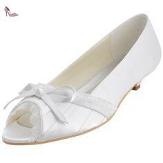 ElegantPark EL10009 Femme Satin Bout Ouvert Noeud Dentelle Mini-Talon  Comfortable Chaussures de mariee Bal 678ca903168e