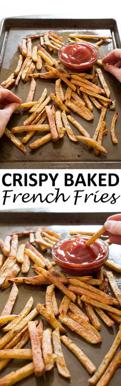 Super Crispy Baked French Fries. Soft and fluffy on the inside, extra crispy on the outside. These are fries you can feel good about eating! | chefsavvy.com #recipe #crispy #baked #french #fries