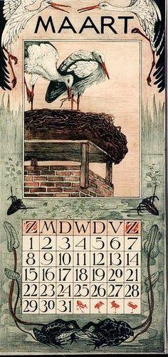 illustration hollandaise : cigognes, theo van Hoytema, calendrier mars 1903, oiseaux