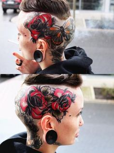 When it comes to tattoo badassness, there is nothing but nothing more badass than hardcore head tattoos. A selection of hardcore head tattoos to die for. Head Tattoos, Body Art Tattoos, Girl Tattoos, Tattoos For Women, Tatoos, Hairline Tattoos, Woman Tattoos, Female Tattoos, Blackwork