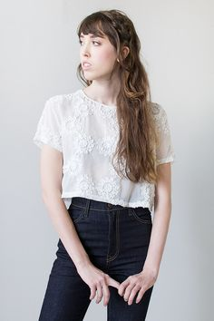 vintage inspired cropped sheer white top