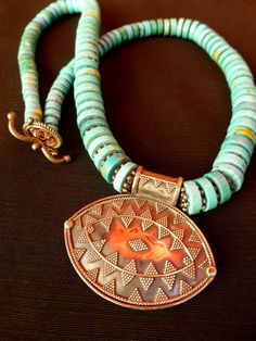 Wonderful Tribal Necklace Turquoise, Sterling Silver Beads and Pendant. Ethnic Jewelry