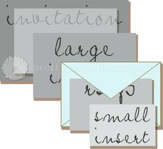 stacked wedding invitation components