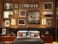 Home & Apartment, Cozy Bedroom Apartment Design With Exposed Brick Wall Picture Frame And Wooden Bedside Table With Glass Top Bookshelf And Drawer Ideas: Mesmerizing Loft + Rio by iving Designed by Luiz Fernando Grabowsky Loft Decorado, Bedroom Loft, Bedroom Decor, Brick Bedroom, Urban Bedroom, Bedroom Ideas, Warm Bedroom, Wall Decor, Bedroom Modern