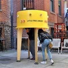 De boeken in duiken bron:van Pinterest Deze creatieve bieb staat in New York.