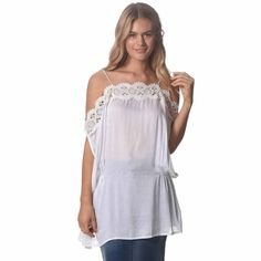 Off Shoulder with Spaghetti straps Elastic sides at waist Relaxed fit Sheer White Tops, Tank Tops, Women, Fashion, Moda, White T Shirts, Halter Tops, Women's, Fashion Styles