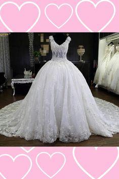 Wedding dress - ball gown - lace wedding dress - long train wedding dress - floral wedding dress #ad