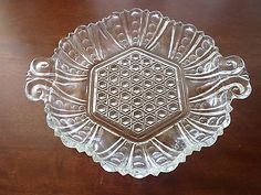 Vintage pressed glass dish 6 inches, hexagon shape with handles