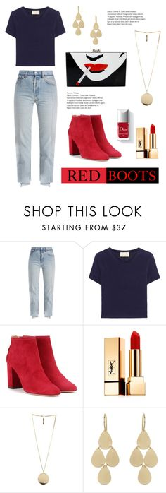 """""""Red Boots"""" by jojo-valentino on Polyvore featuring Vetements, Alice + Olivia, Aquazzura, Yves Saint Laurent, Couture Colour, Givenchy, Irene Neuwirth and Charlotte Olympia"""