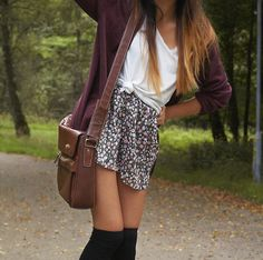 floral skirt + tied up white t shirt + oversized maroon cardigan + black thigh highs + brown shoulder bag