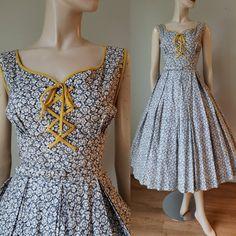 1950s Dressy Cotton Summer Dress / Henry Rosenfeld Original / 50s Cotton Dress / Circle Skirt Dress / Full Sweep / Small Circle Skirt Dress, Pleated Skirt, Vintage Summer Dresses, Full Look, Grey And Gold, Fitted Bodice, Dressmaking, Cotton Dresses, Day Dresses