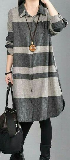 stylish gray pure linen dresses plus size linen clothing dresses women lapel collar patchwork shirt dressMost of our dresses are made of cotton linen fabric, soft and breathy. loose dresses to make you comfortable all the time. Kurta Designs, Blouse Designs, Dress Outfits, Casual Dresses, Casual Outfits, Loose Dresses, Hijab Fashion, Fashion Dresses, Hijab Stile